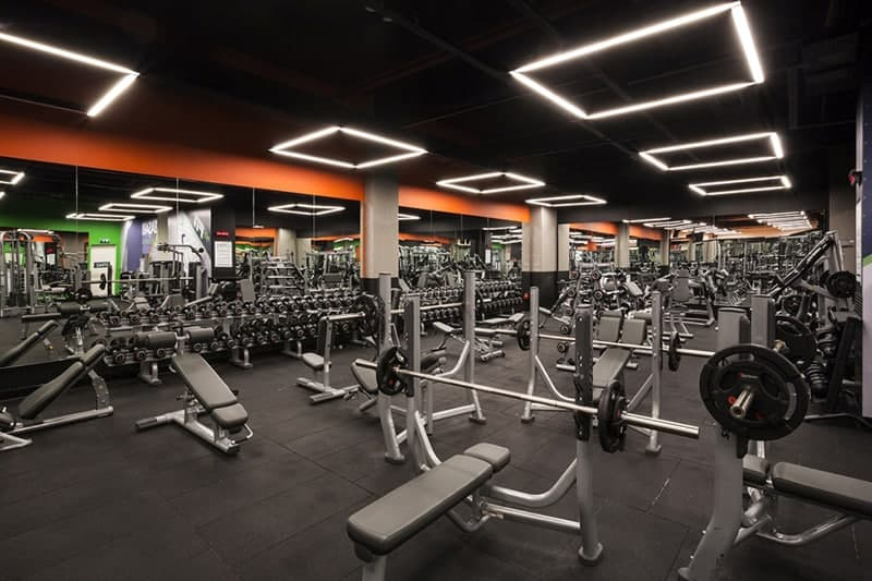 gym lighting design. planlux developed architectural lighting design project for macfit bursa podyumpark by mars sportif gym i
